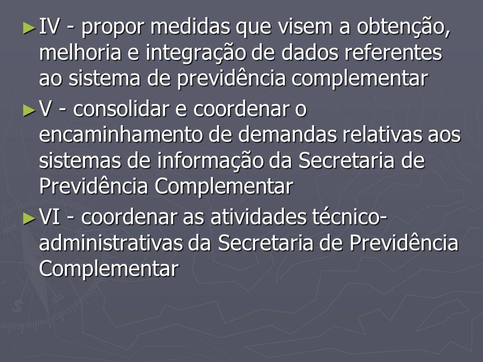 IV - propor medidas que visem a obtenção, melhoria e integração de dados referentes ao sistema de previdência complementar