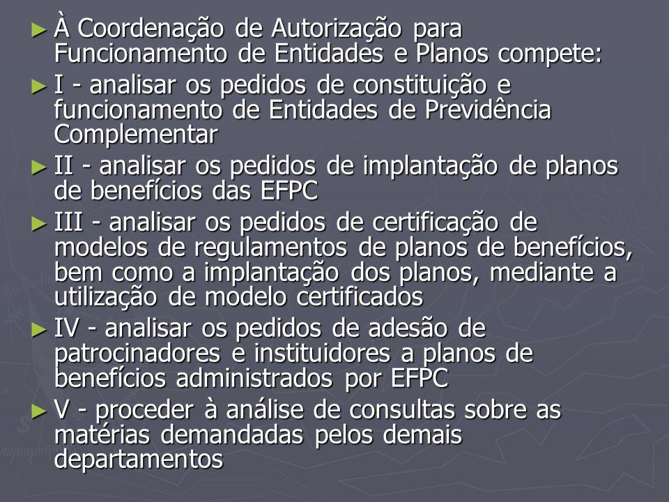 À Coordenação de Autorização para Funcionamento de Entidades e Planos compete: