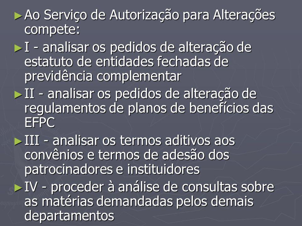 Ao Serviço de Autorização para Alterações compete: