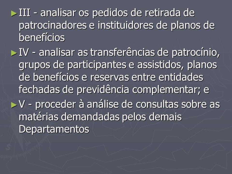 III - analisar os pedidos de retirada de patrocinadores e instituidores de planos de benefícios