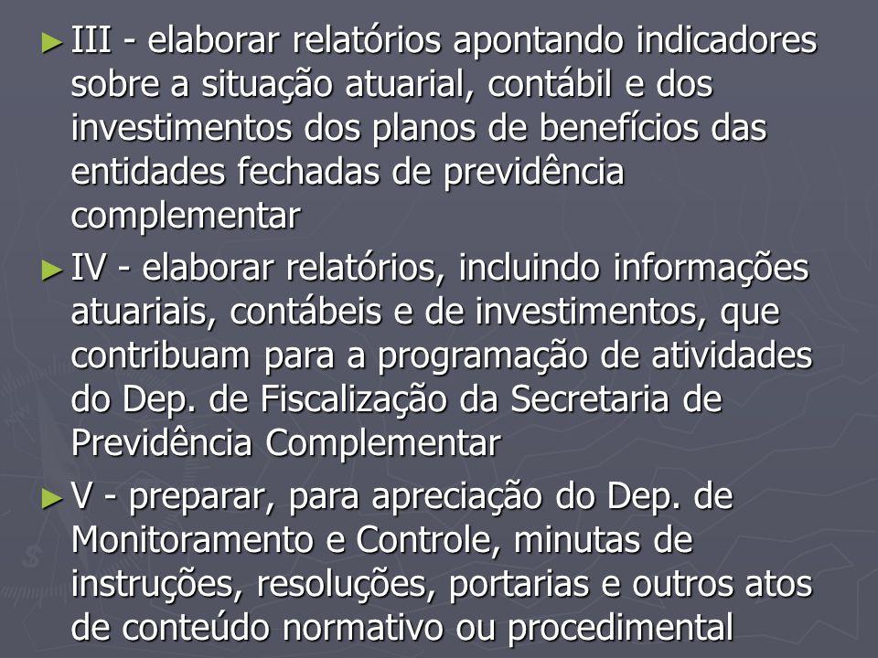 III - elaborar relatórios apontando indicadores sobre a situação atuarial, contábil e dos investimentos dos planos de benefícios das entidades fechadas de previdência complementar