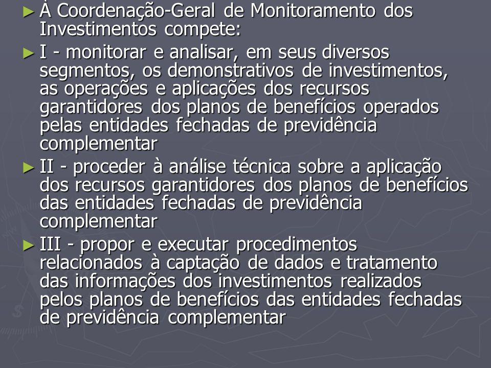 À Coordenação-Geral de Monitoramento dos Investimentos compete: