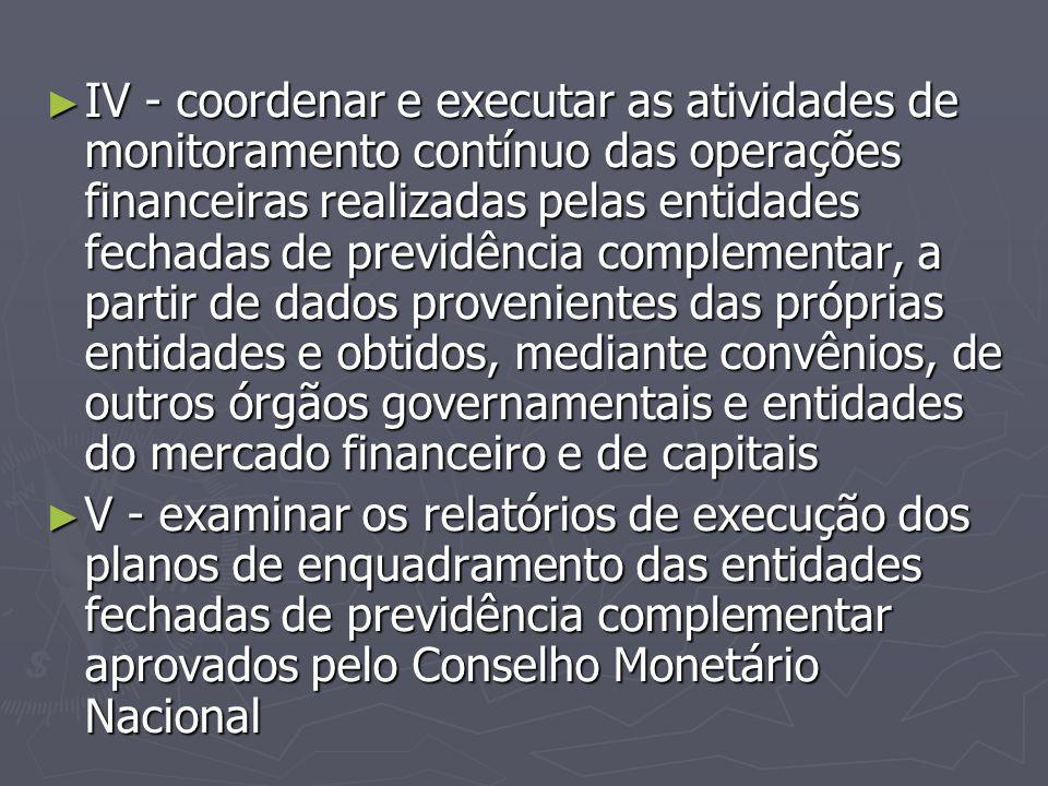 IV - coordenar e executar as atividades de monitoramento contínuo das operações financeiras realizadas pelas entidades fechadas de previdência complementar, a partir de dados provenientes das próprias entidades e obtidos, mediante convênios, de outros órgãos governamentais e entidades do mercado financeiro e de capitais