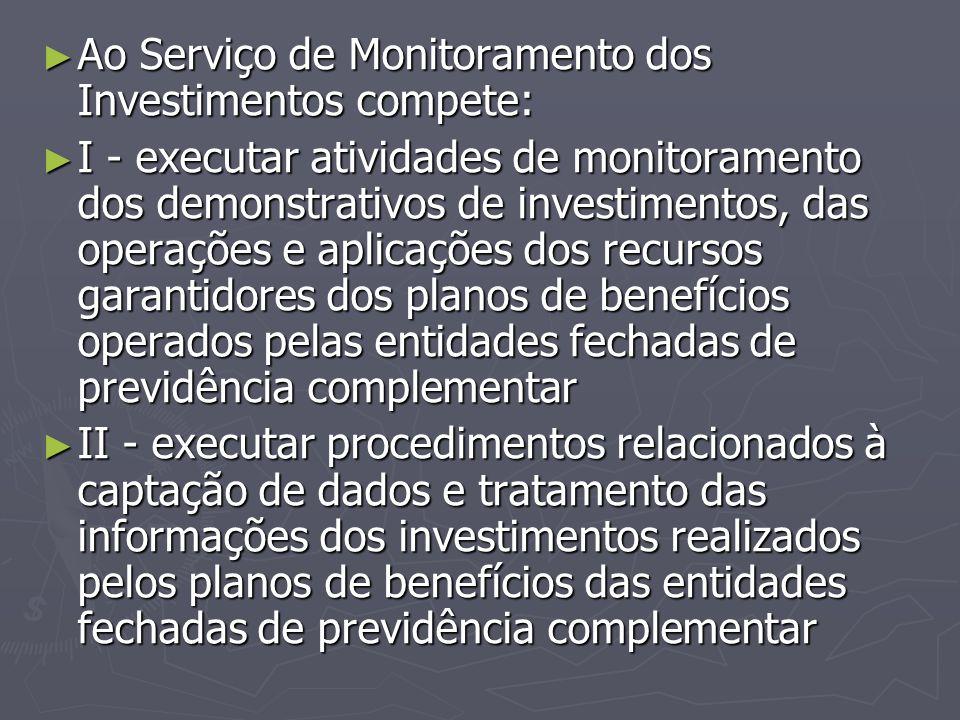 Ao Serviço de Monitoramento dos Investimentos compete: