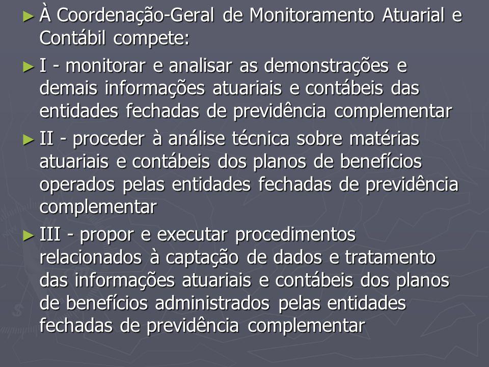À Coordenação-Geral de Monitoramento Atuarial e Contábil compete: