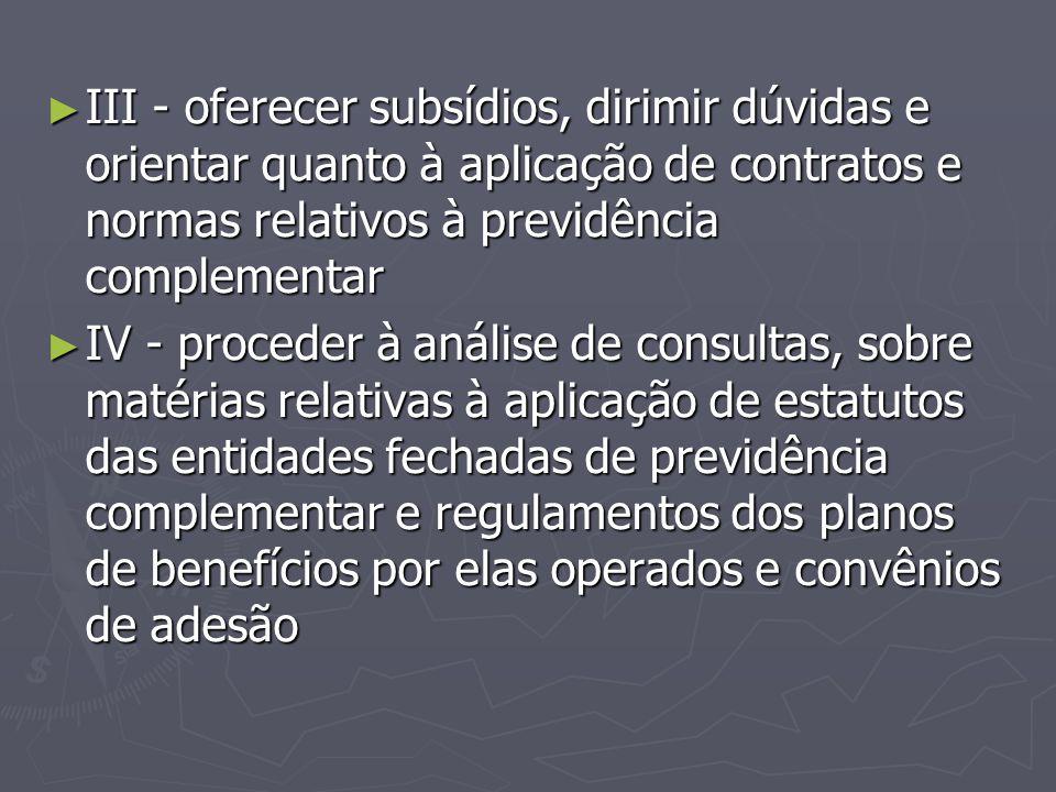 III - oferecer subsídios, dirimir dúvidas e orientar quanto à aplicação de contratos e normas relativos à previdência complementar