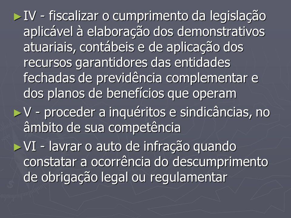 IV - fiscalizar o cumprimento da legislação aplicável à elaboração dos demonstrativos atuariais, contábeis e de aplicação dos recursos garantidores das entidades fechadas de previdência complementar e dos planos de benefícios que operam