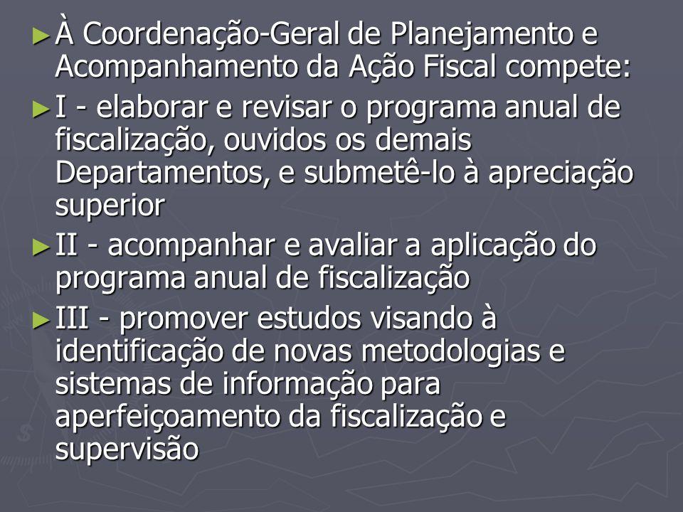 À Coordenação-Geral de Planejamento e Acompanhamento da Ação Fiscal compete:
