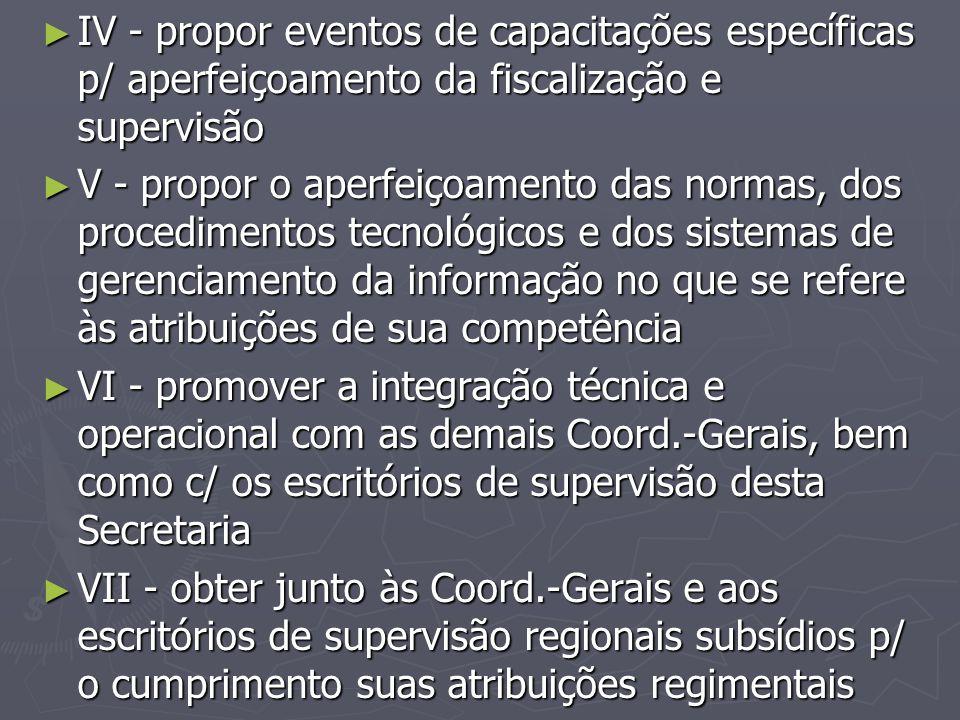 IV - propor eventos de capacitações específicas p/ aperfeiçoamento da fiscalização e supervisão