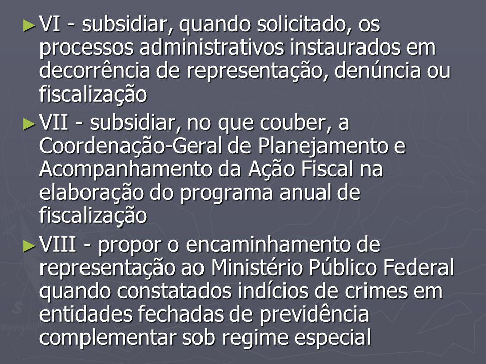 VI - subsidiar, quando solicitado, os processos administrativos instaurados em decorrência de representação, denúncia ou fiscalização