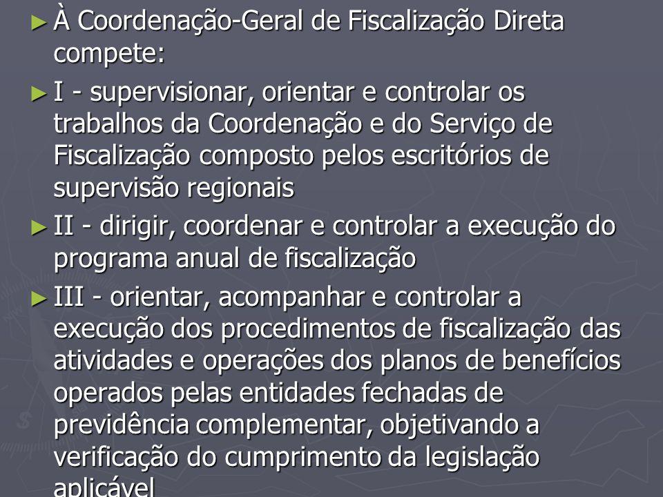À Coordenação-Geral de Fiscalização Direta compete: