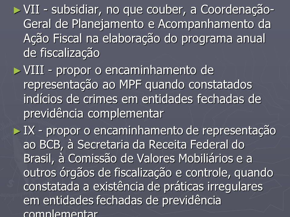 VII - subsidiar, no que couber, a Coordenação-Geral de Planejamento e Acompanhamento da Ação Fiscal na elaboração do programa anual de fiscalização