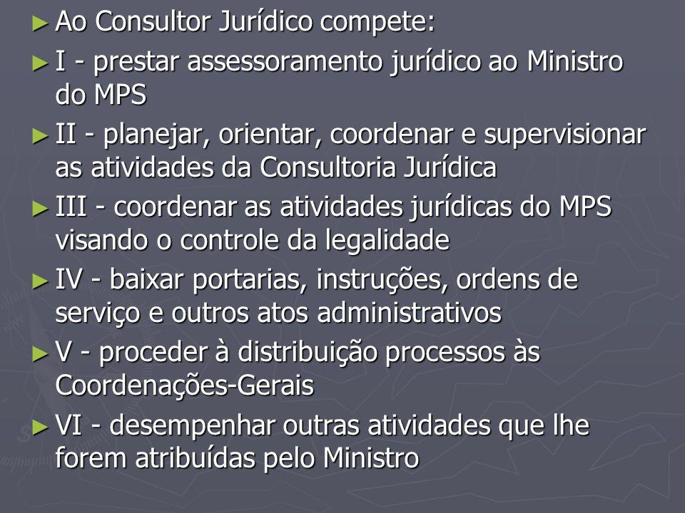 Ao Consultor Jurídico compete: