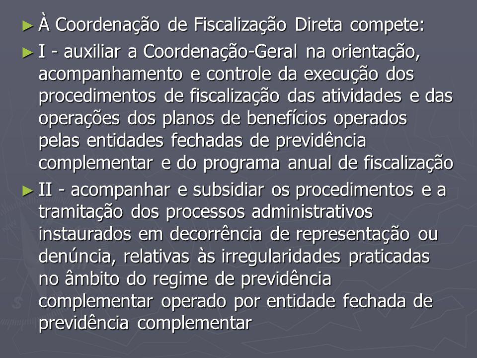 À Coordenação de Fiscalização Direta compete: