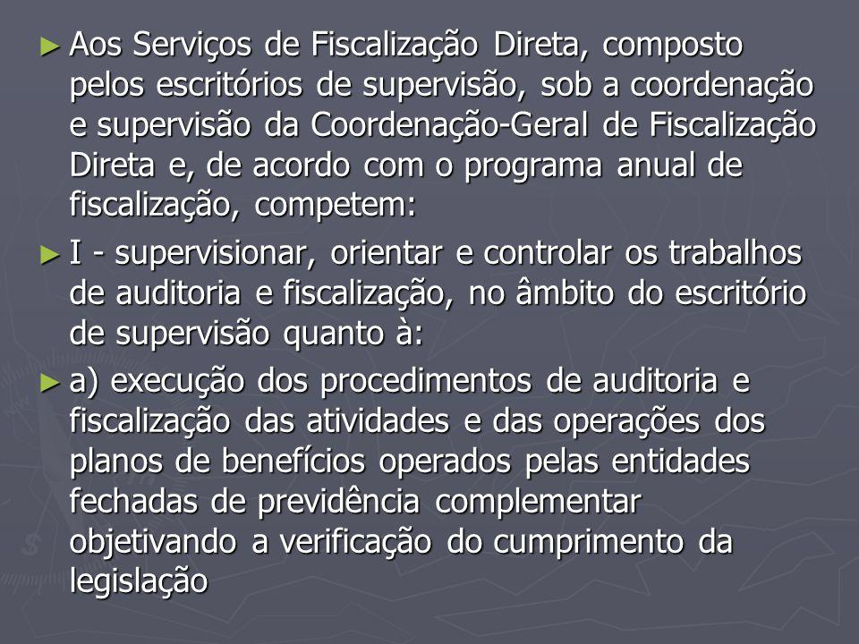 Aos Serviços de Fiscalização Direta, composto pelos escritórios de supervisão, sob a coordenação e supervisão da Coordenação-Geral de Fiscalização Direta e, de acordo com o programa anual de fiscalização, competem: