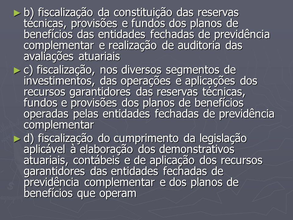 b) fiscalização da constituição das reservas técnicas, provisões e fundos dos planos de benefícios das entidades fechadas de previdência complementar e realização de auditoria das avaliações atuariais