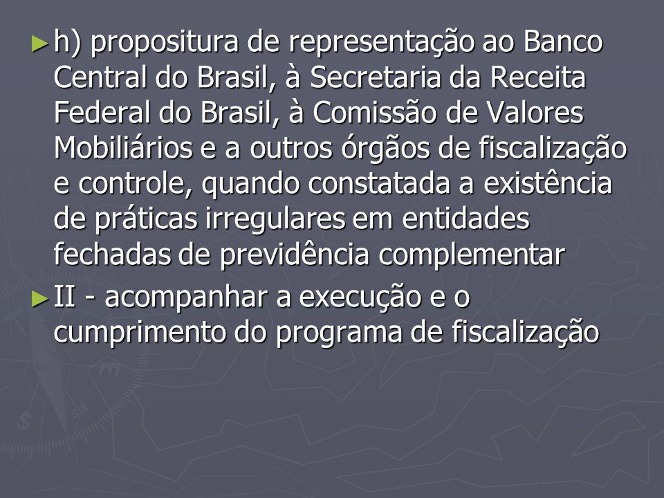 h) propositura de representação ao Banco Central do Brasil, à Secretaria da Receita Federal do Brasil, à Comissão de Valores Mobiliários e a outros órgãos de fiscalização e controle, quando constatada a existência de práticas irregulares em entidades fechadas de previdência complementar