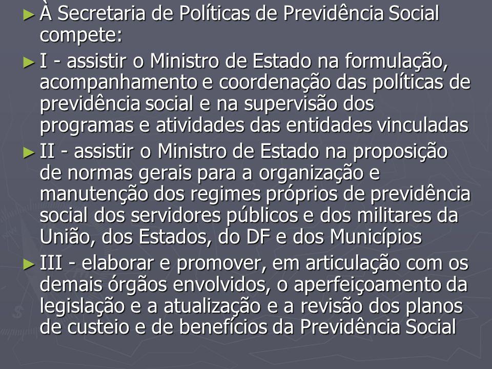 À Secretaria de Políticas de Previdência Social compete: