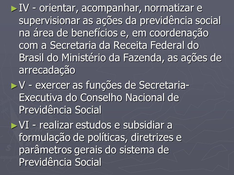 IV - orientar, acompanhar, normatizar e supervisionar as ações da previdência social na área de benefícios e, em coordenação com a Secretaria da Receita Federal do Brasil do Ministério da Fazenda, as ações de arrecadação