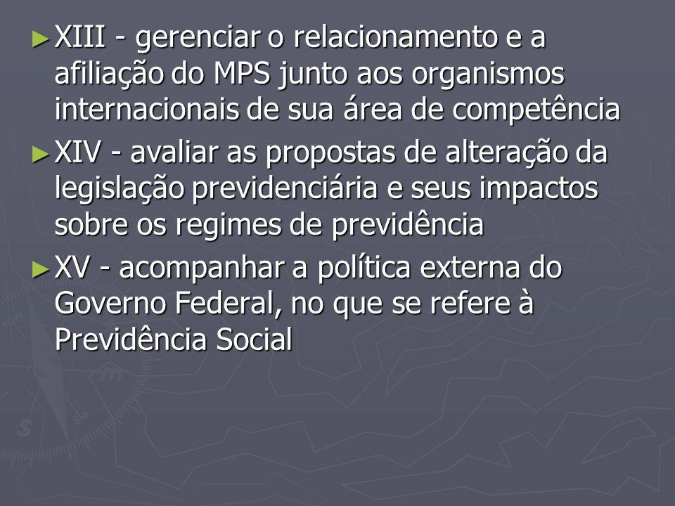 XIII - gerenciar o relacionamento e a afiliação do MPS junto aos organismos internacionais de sua área de competência