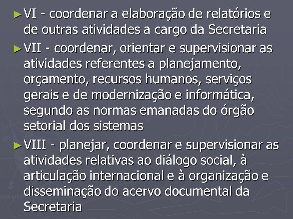 VI - coordenar a elaboração de relatórios e de outras atividades a cargo da Secretaria