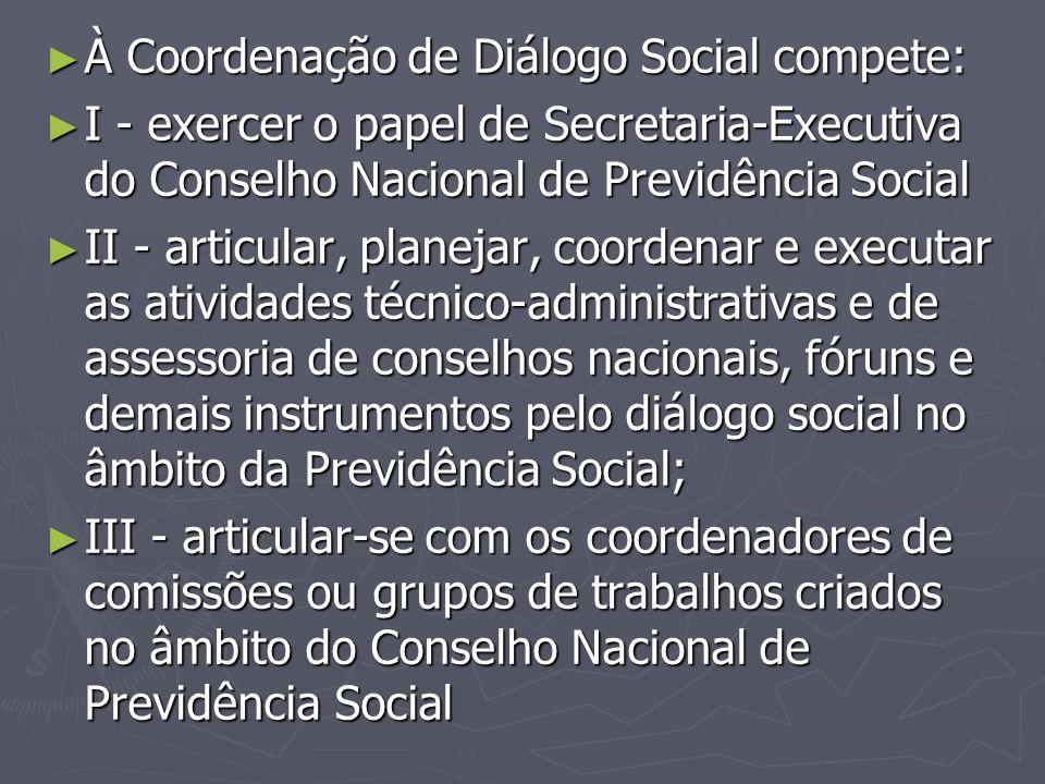 À Coordenação de Diálogo Social compete: