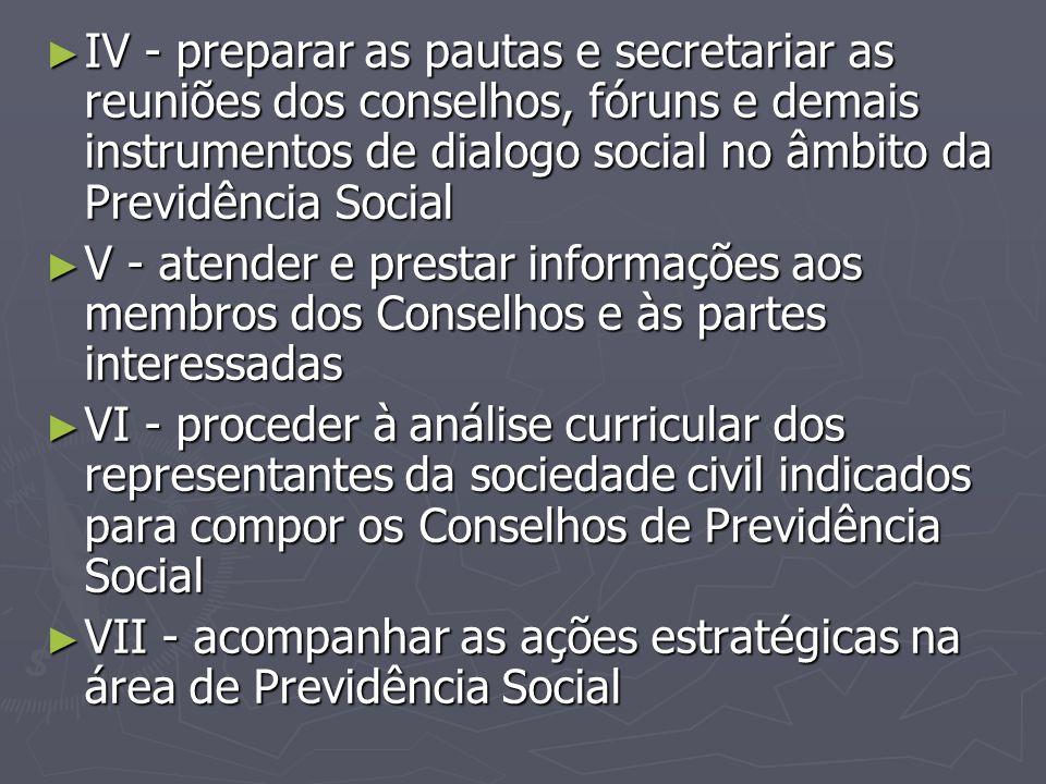 IV - preparar as pautas e secretariar as reuniões dos conselhos, fóruns e demais instrumentos de dialogo social no âmbito da Previdência Social