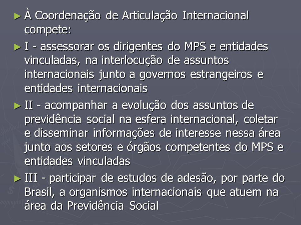 À Coordenação de Articulação Internacional compete: