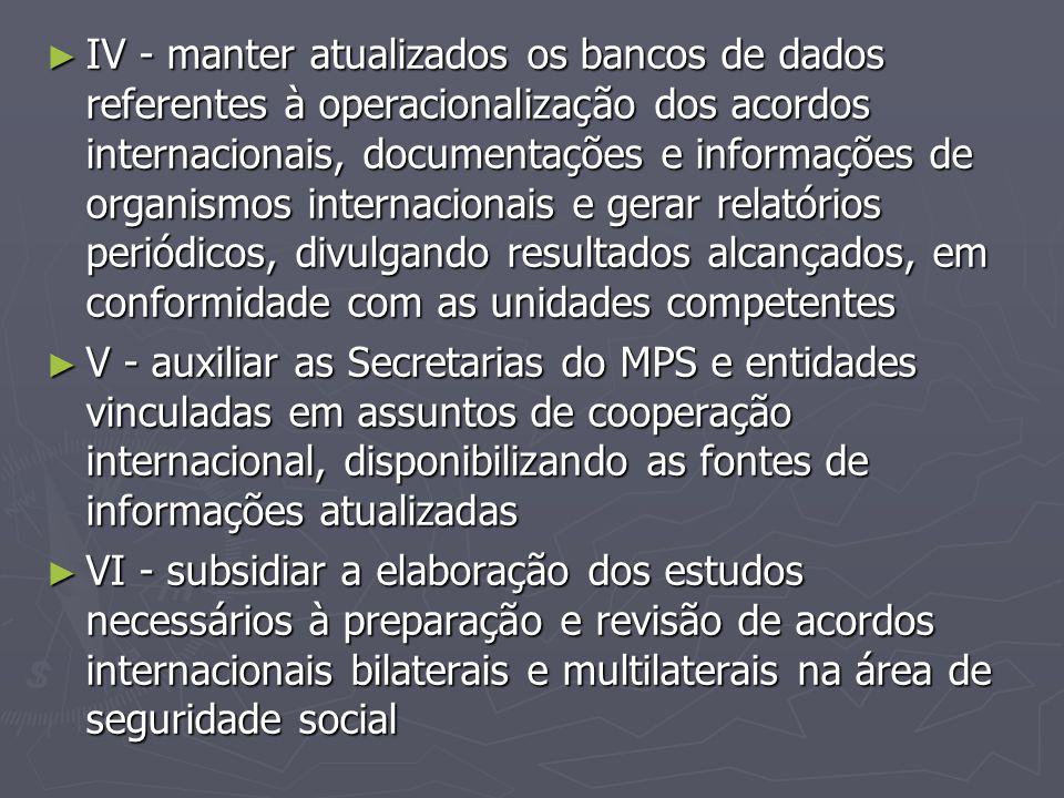IV - manter atualizados os bancos de dados referentes à operacionalização dos acordos internacionais, documentações e informações de organismos internacionais e gerar relatórios periódicos, divulgando resultados alcançados, em conformidade com as unidades competentes