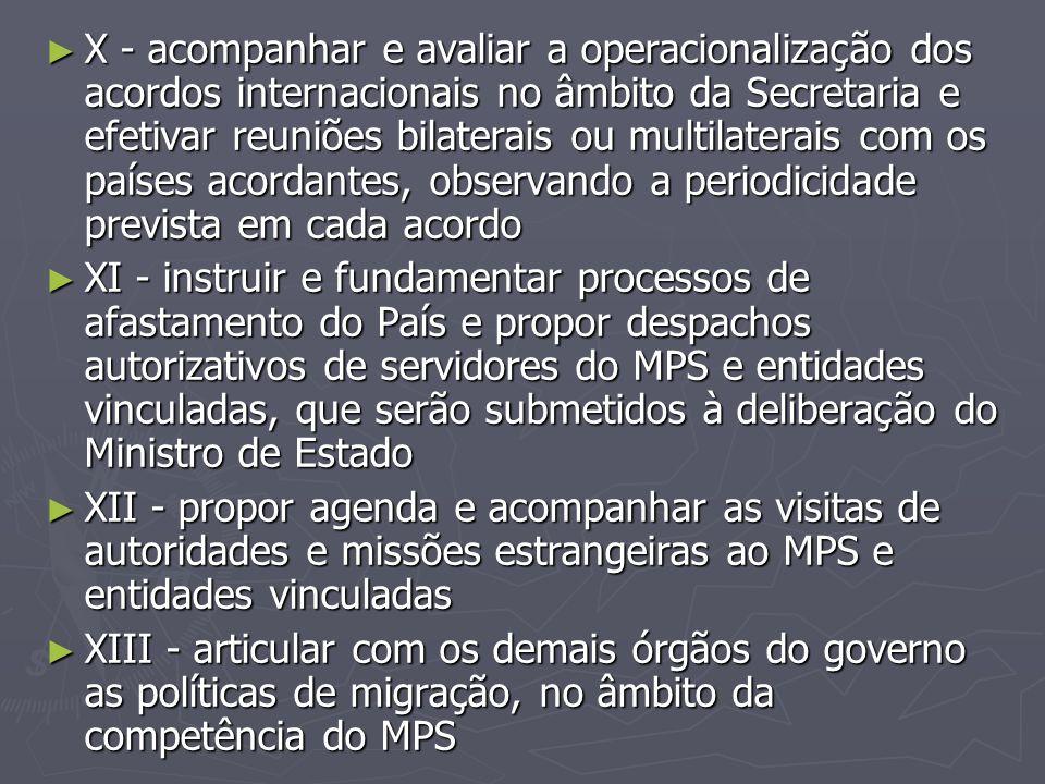 X - acompanhar e avaliar a operacionalização dos acordos internacionais no âmbito da Secretaria e efetivar reuniões bilaterais ou multilaterais com os países acordantes, observando a periodicidade prevista em cada acordo