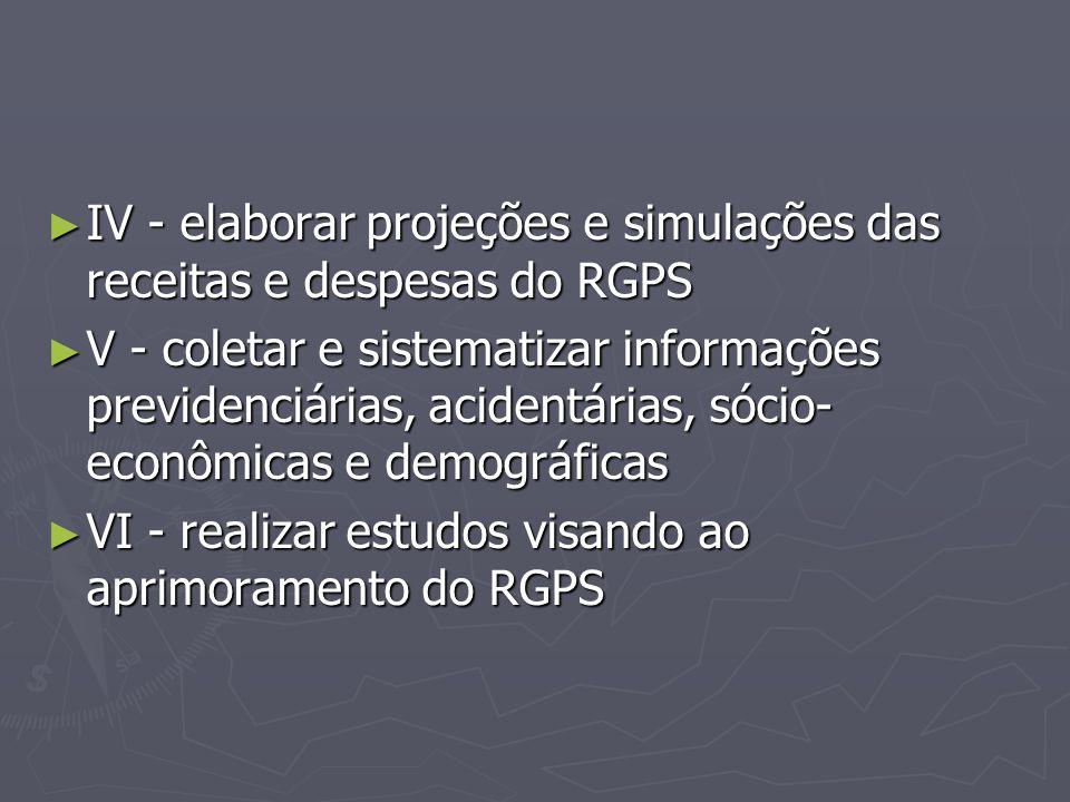 IV - elaborar projeções e simulações das receitas e despesas do RGPS