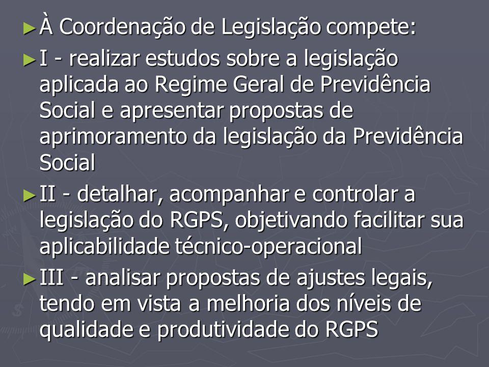 À Coordenação de Legislação compete:
