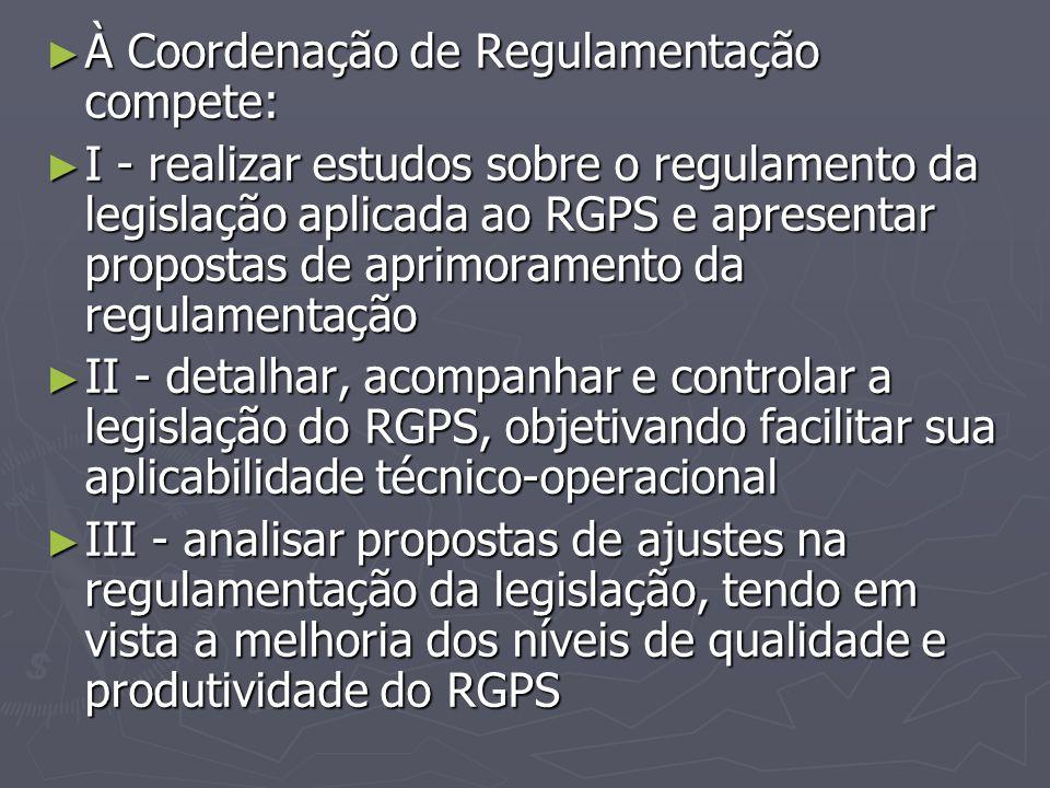 À Coordenação de Regulamentação compete: