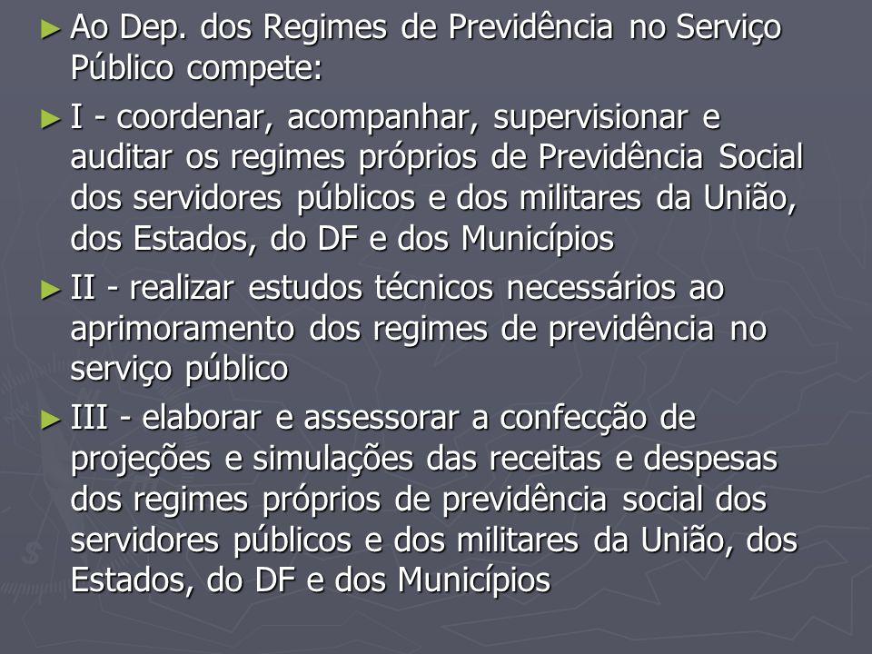 Ao Dep. dos Regimes de Previdência no Serviço Público compete: