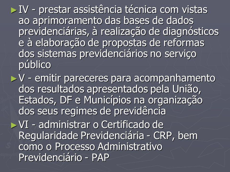 IV - prestar assistência técnica com vistas ao aprimoramento das bases de dados previdenciárias, à realização de diagnósticos e à elaboração de propostas de reformas dos sistemas previdenciários no serviço público