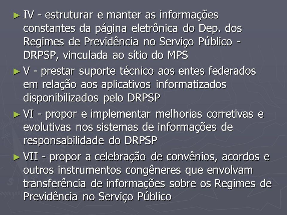 IV - estruturar e manter as informações constantes da página eletrônica do Dep. dos Regimes de Previdência no Serviço Público - DRPSP, vinculada ao sítio do MPS