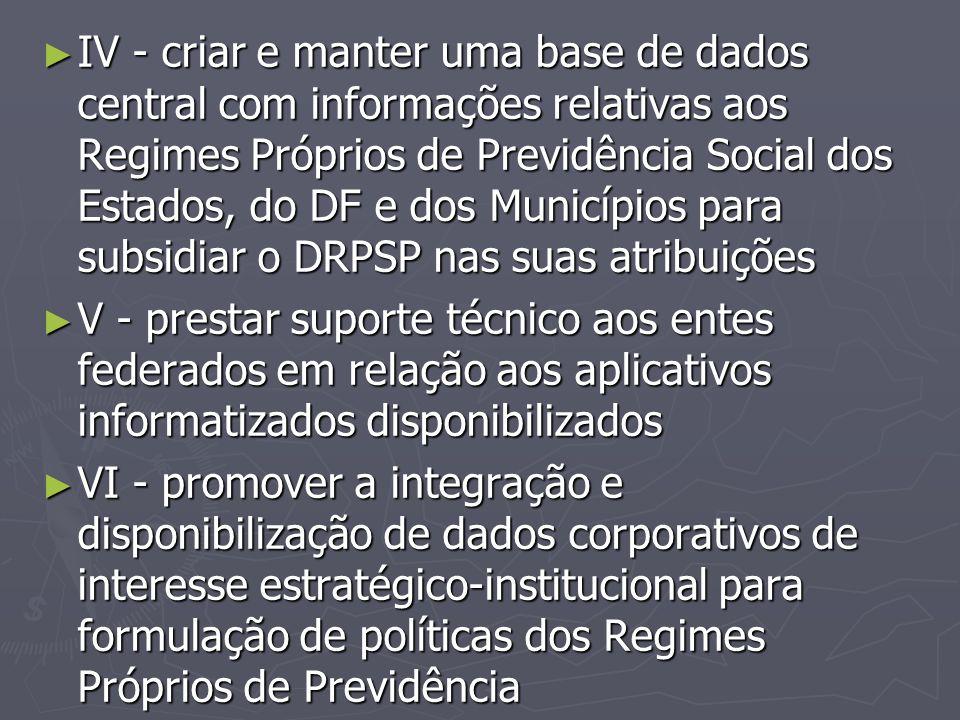 IV - criar e manter uma base de dados central com informações relativas aos Regimes Próprios de Previdência Social dos Estados, do DF e dos Municípios para subsidiar o DRPSP nas suas atribuições