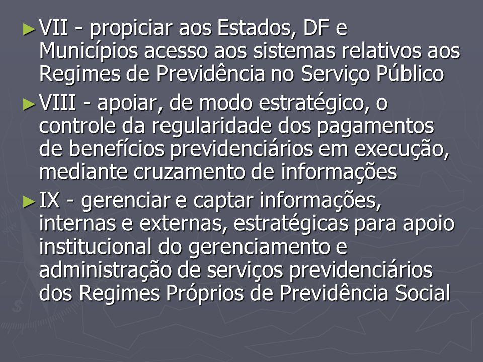 VII - propiciar aos Estados, DF e Municípios acesso aos sistemas relativos aos Regimes de Previdência no Serviço Público
