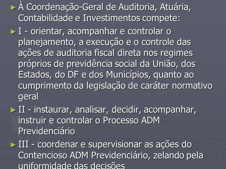 À Coordenação-Geral de Auditoria, Atuária, Contabilidade e Investimentos compete: