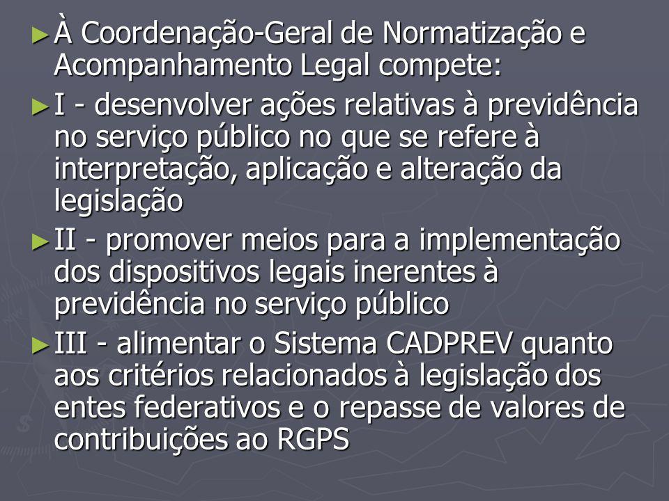 À Coordenação-Geral de Normatização e Acompanhamento Legal compete: