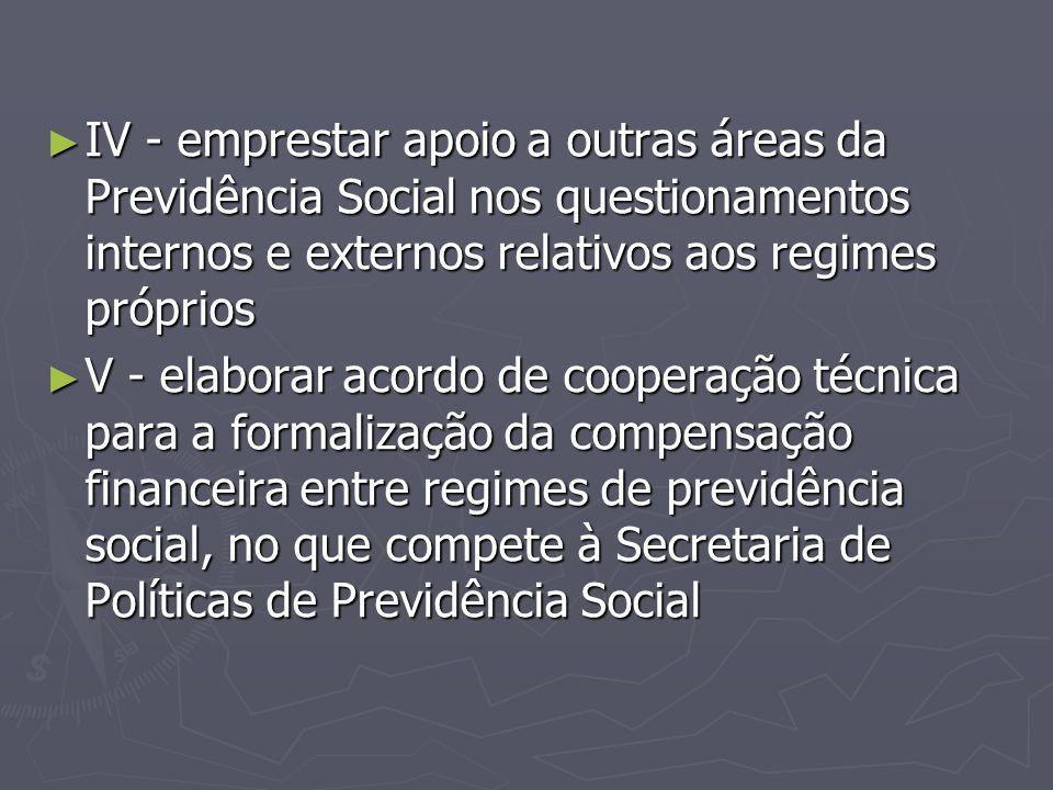 IV - emprestar apoio a outras áreas da Previdência Social nos questionamentos internos e externos relativos aos regimes próprios