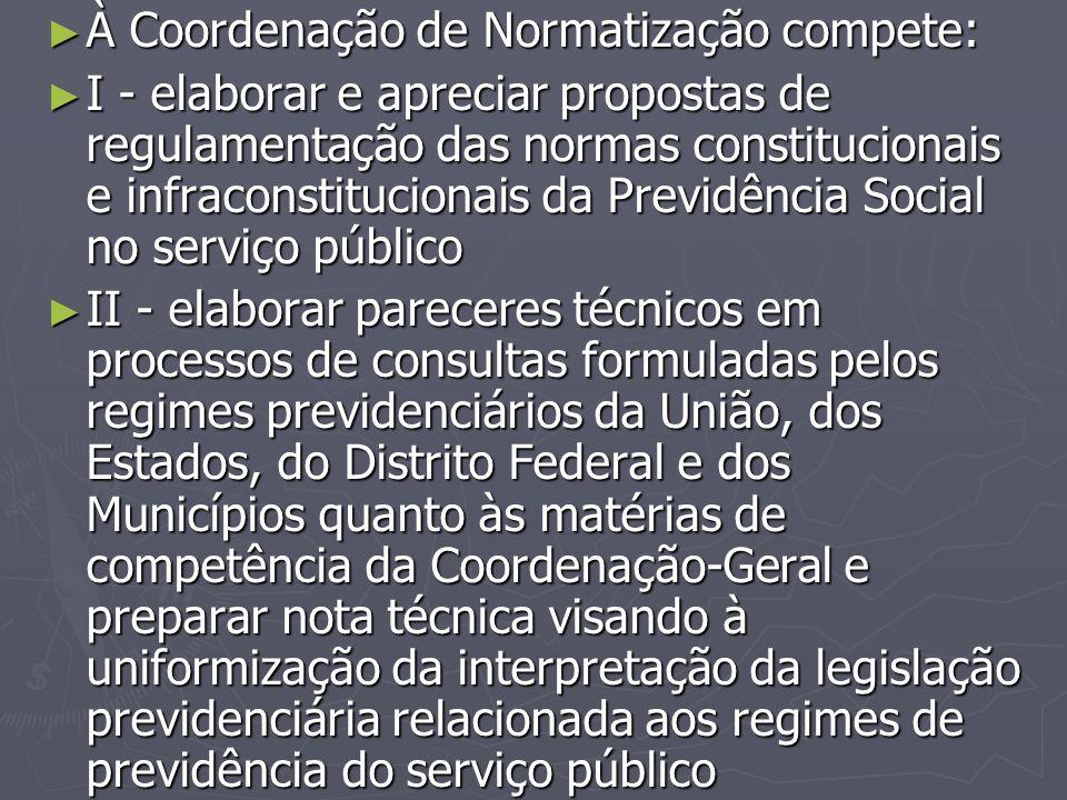 À Coordenação de Normatização compete: