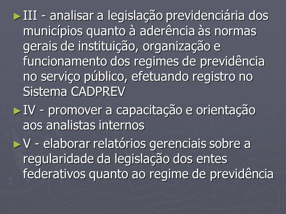 III - analisar a legislação previdenciária dos municípios quanto à aderência às normas gerais de instituição, organização e funcionamento dos regimes de previdência no serviço público, efetuando registro no Sistema CADPREV