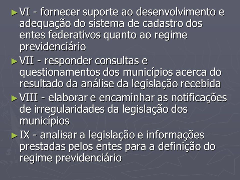 VI - fornecer suporte ao desenvolvimento e adequação do sistema de cadastro dos entes federativos quanto ao regime previdenciário