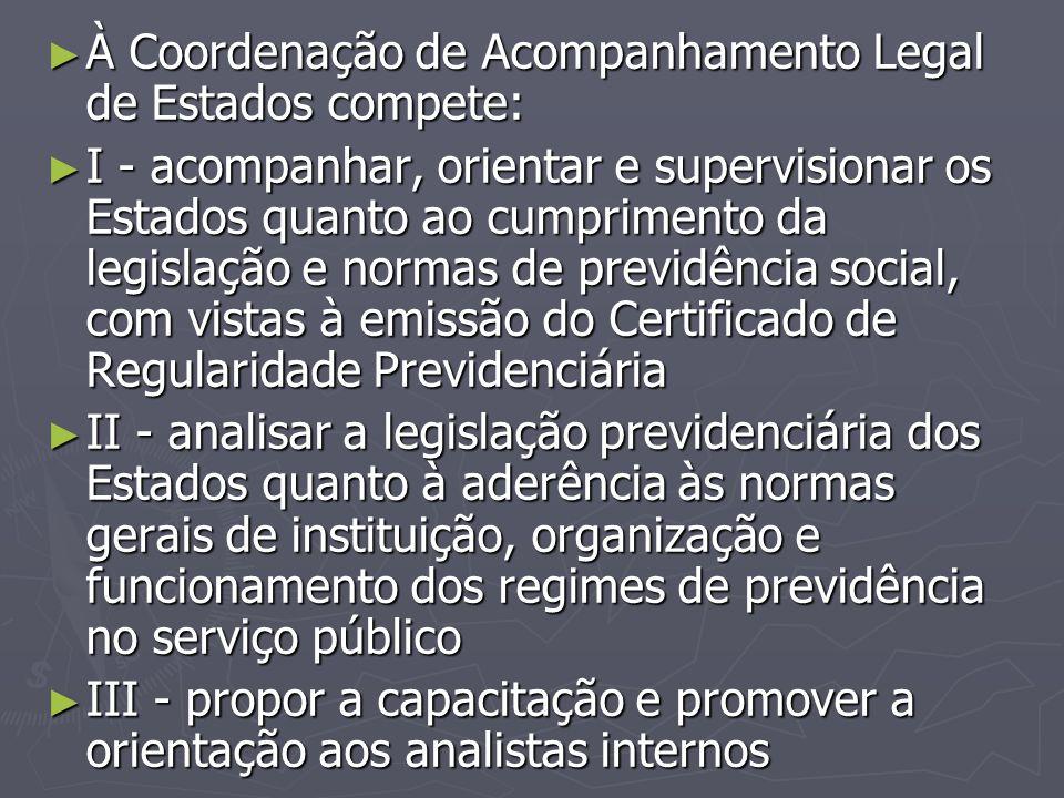 À Coordenação de Acompanhamento Legal de Estados compete: