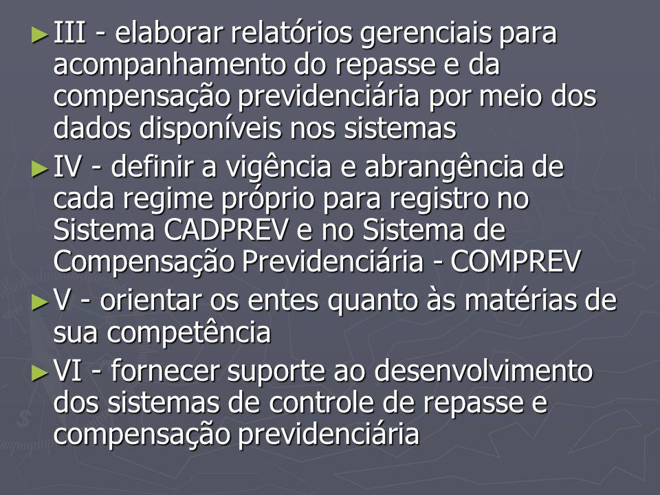 III - elaborar relatórios gerenciais para acompanhamento do repasse e da compensação previdenciária por meio dos dados disponíveis nos sistemas