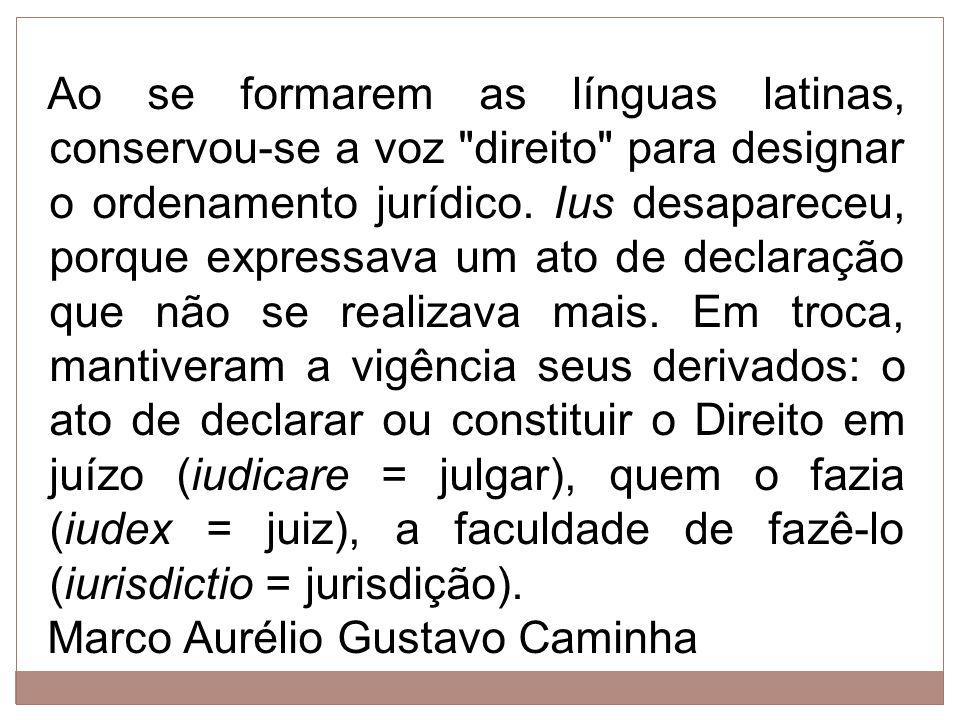 Ao se formarem as línguas latinas, conservou-se a voz direito para designar o ordenamento jurídico. Ius desapareceu, porque expressava um ato de declaração que não se realizava mais. Em troca, mantiveram a vigência seus derivados: o ato de declarar ou constituir o Direito em juízo (iudicare = julgar), quem o fazia (iudex = juiz), a faculdade de fazê-lo (iurisdictio = jurisdição).