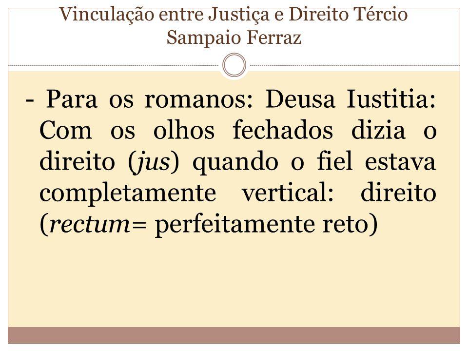 Vinculação entre Justiça e Direito Tércio Sampaio Ferraz