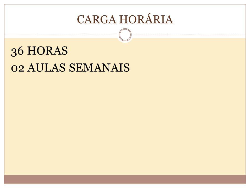CARGA HORÁRIA 36 HORAS 02 AULAS SEMANAIS