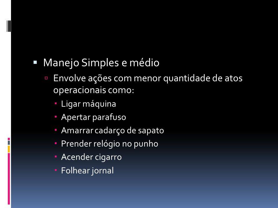 Manejo Simples e médio Envolve ações com menor quantidade de atos operacionais como: Ligar máquina.